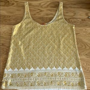 Tory Burch Gold and White Print Tank Top S